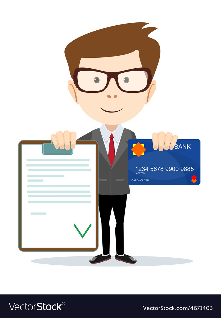 Man with an approved contract and credit cards vector | Price: 1 Credit (USD $1)