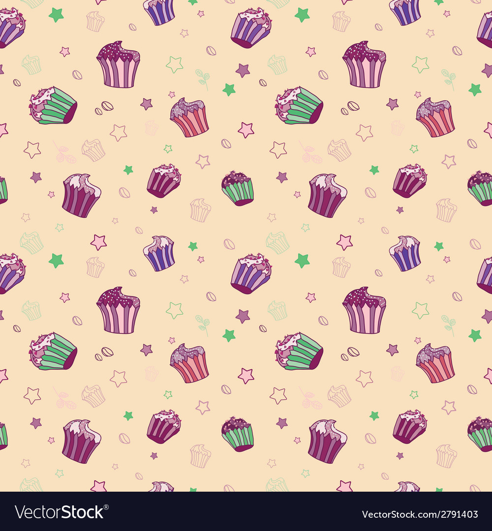 Pattern with muffins vector | Price: 1 Credit (USD $1)