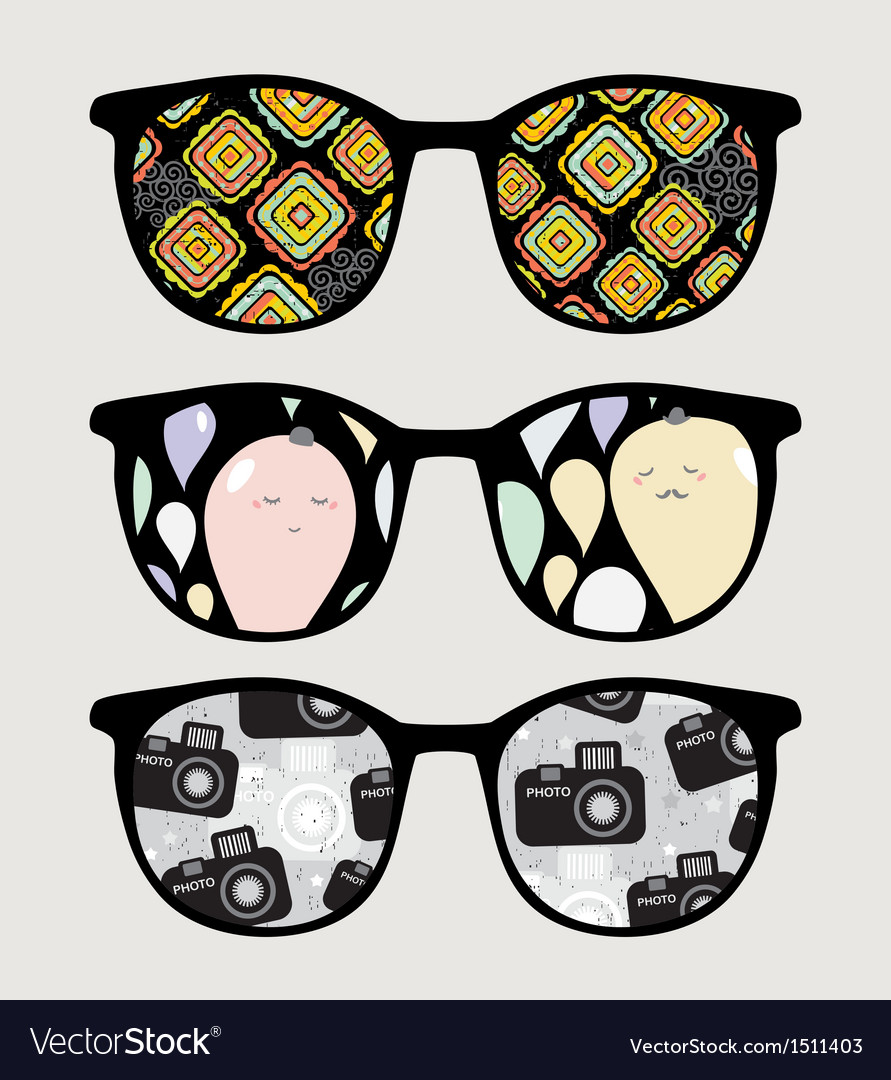 Retro sunglasses with nice reflection in it vector | Price: 1 Credit (USD $1)