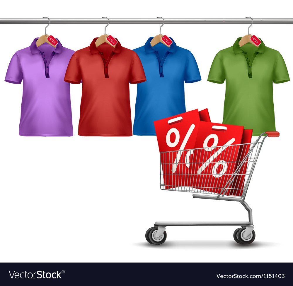 Shirts hanging on a bar and a shopping cart vector | Price: 1 Credit (USD $1)