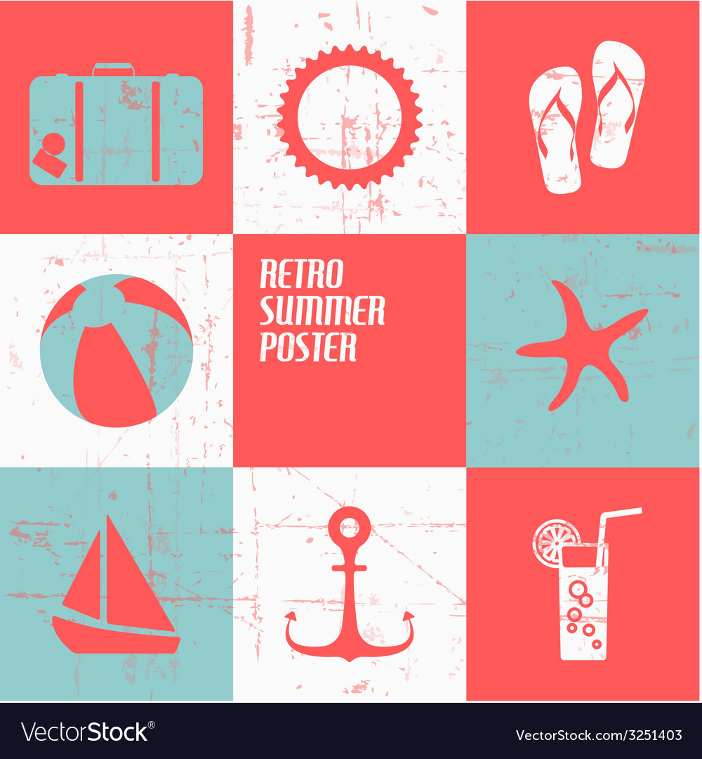 Summer poster made from icons vector   Price: 1 Credit (USD $1)