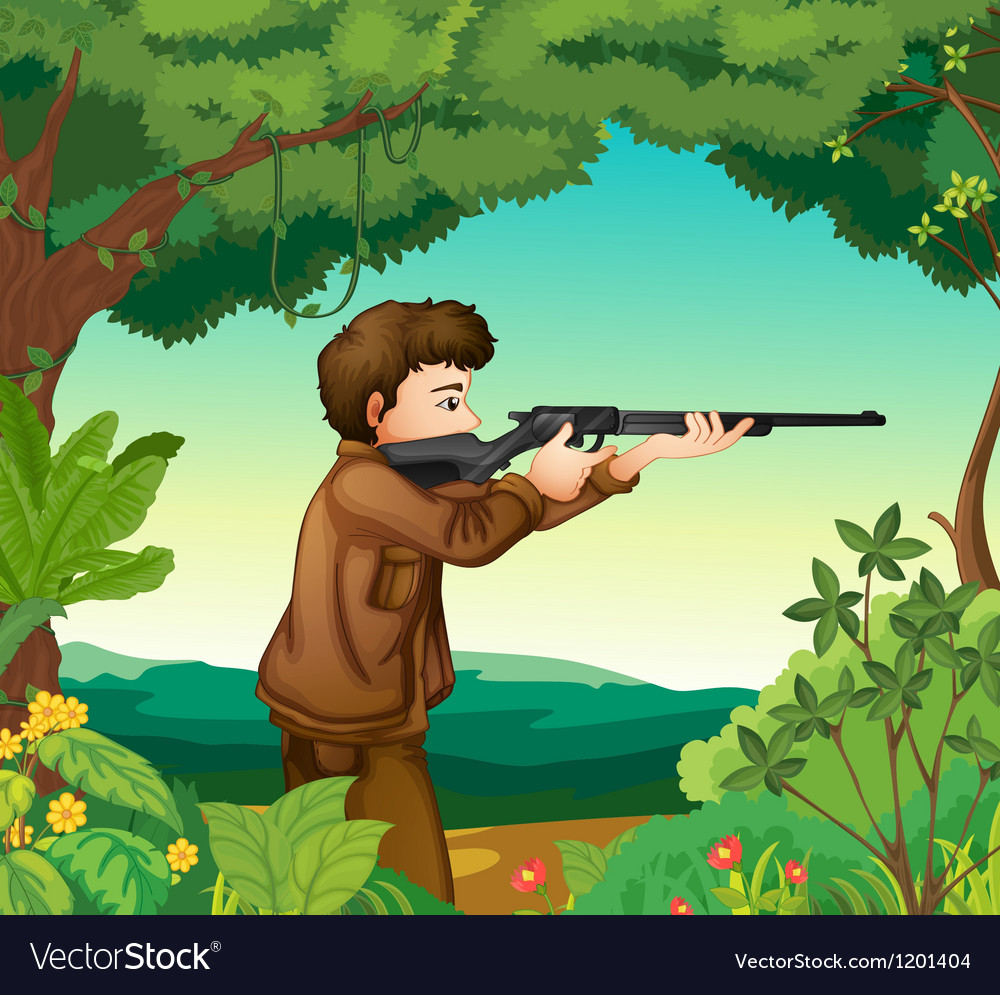 A boy with a gun inside the forest vector | Price: 1 Credit (USD $1)