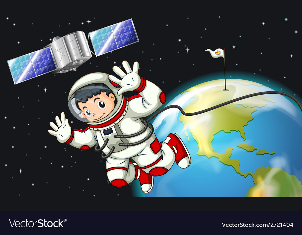 An astronaut in the outerspace near the satellite vector | Price: 1 Credit (USD $1)