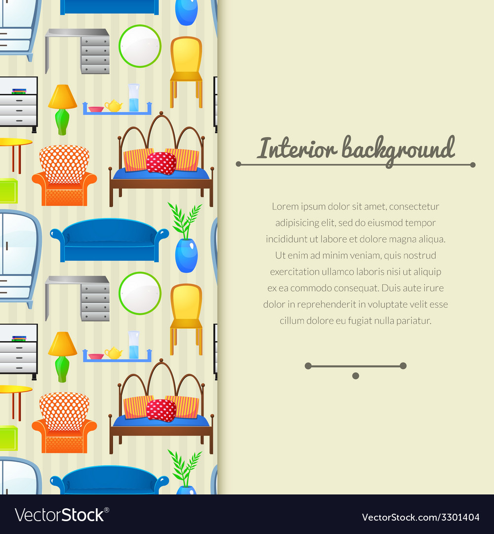 Background with elements furniture vector | Price: 1 Credit (USD $1)