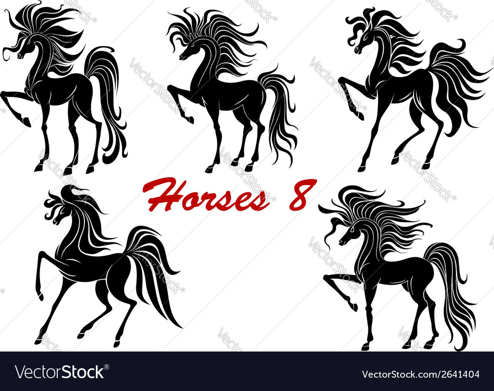 Black horse stallions set vector | Price: 1 Credit (USD $1)