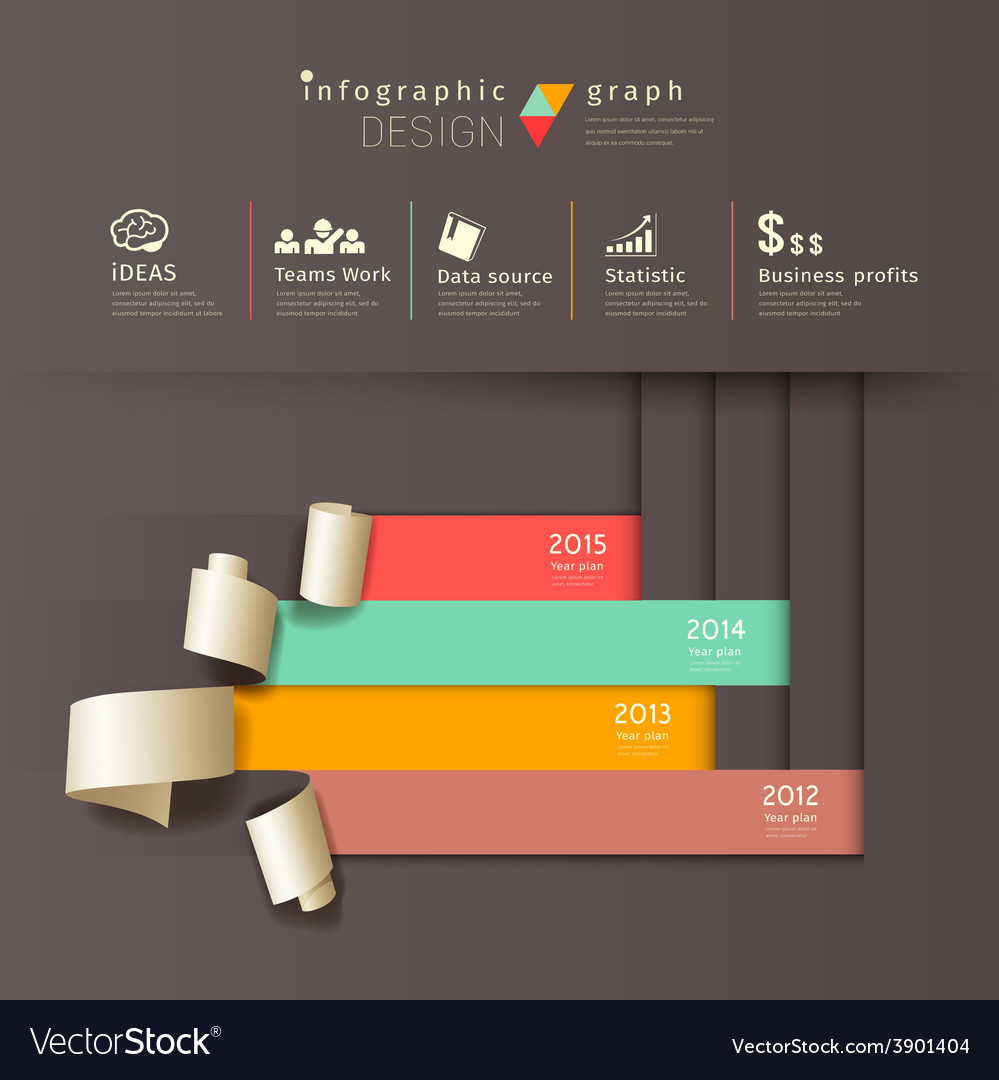 Infographics graph paper roll vertical design vector | Price: 3 Credit (USD $3)