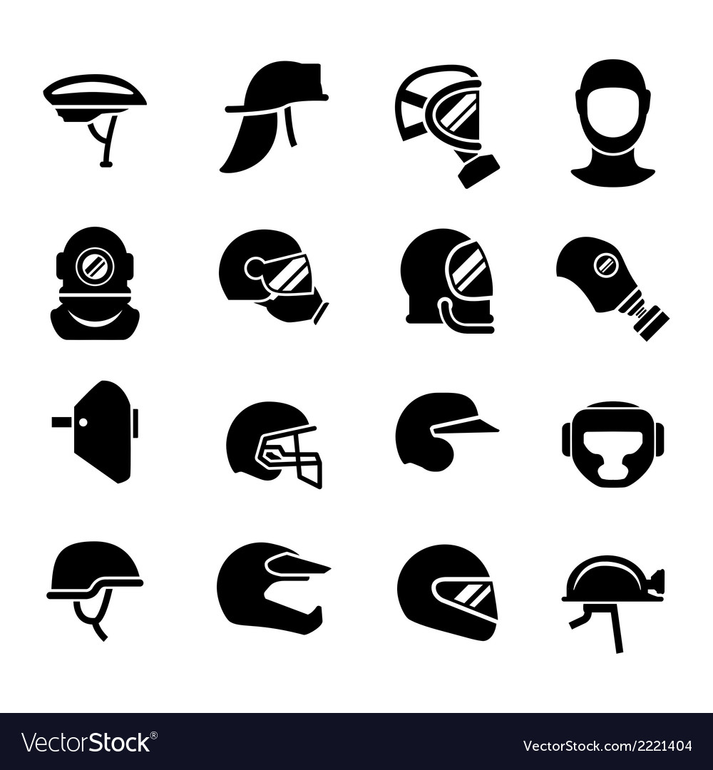 Set icons of helmets and masks vector | Price: 1 Credit (USD $1)