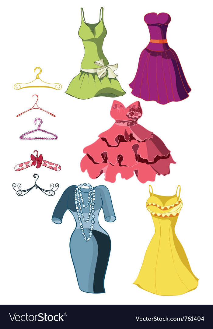 Set of bright dresses vector | Price: 1 Credit (USD $1)