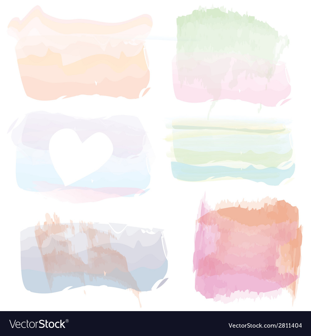 Set of watercolor banners frames splashes vector | Price: 1 Credit (USD $1)