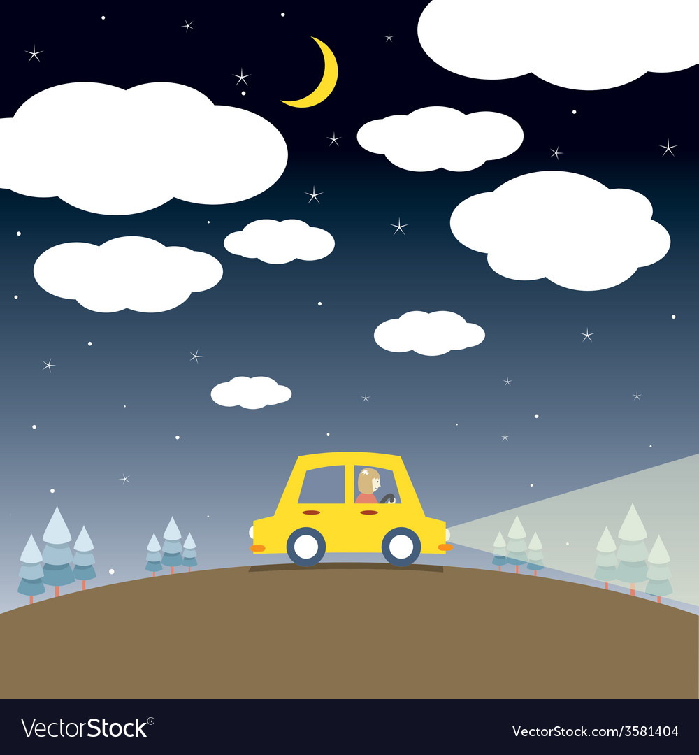 Single woman drive a car in the night vector | Price: 1 Credit (USD $1)