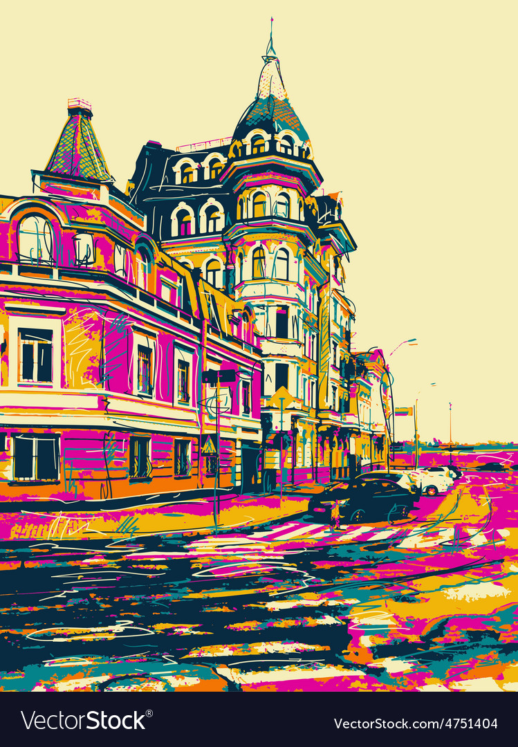 Sketch drawing of city kyiv modern landscape vector | Price: 1 Credit (USD $1)