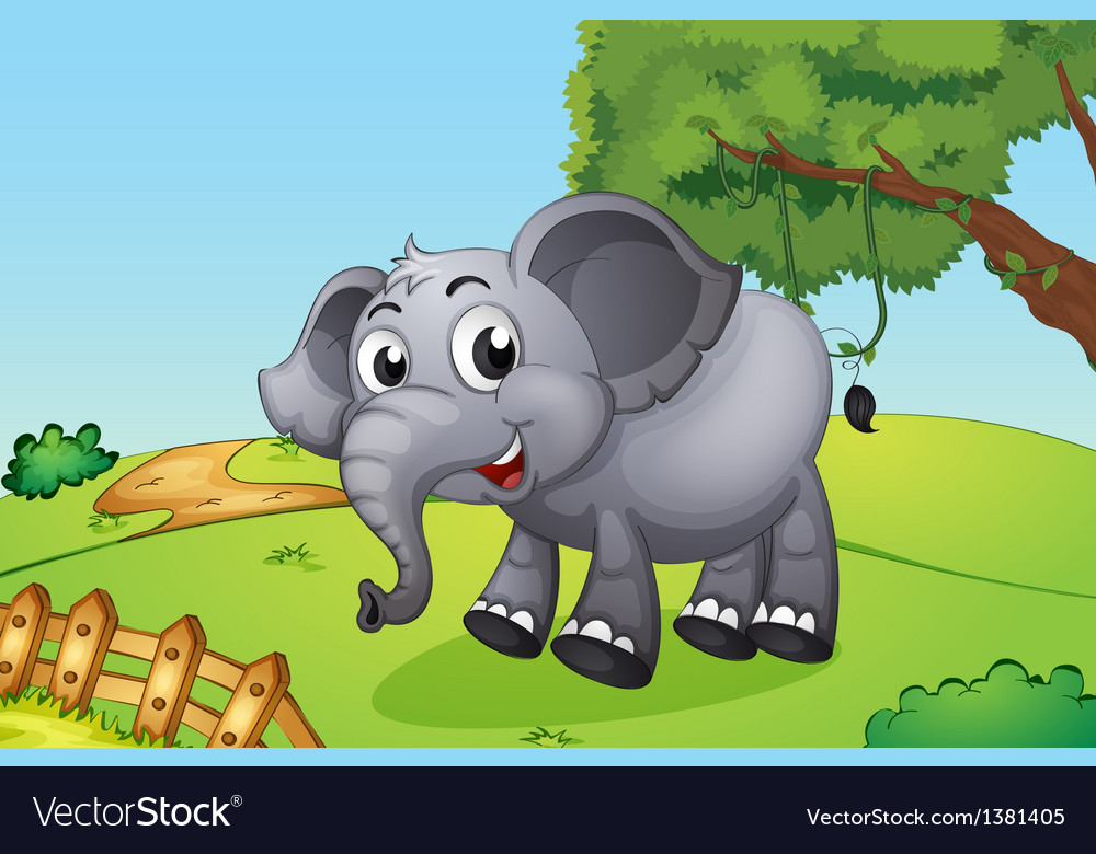 An elephant jumping inside the wooden fence vector