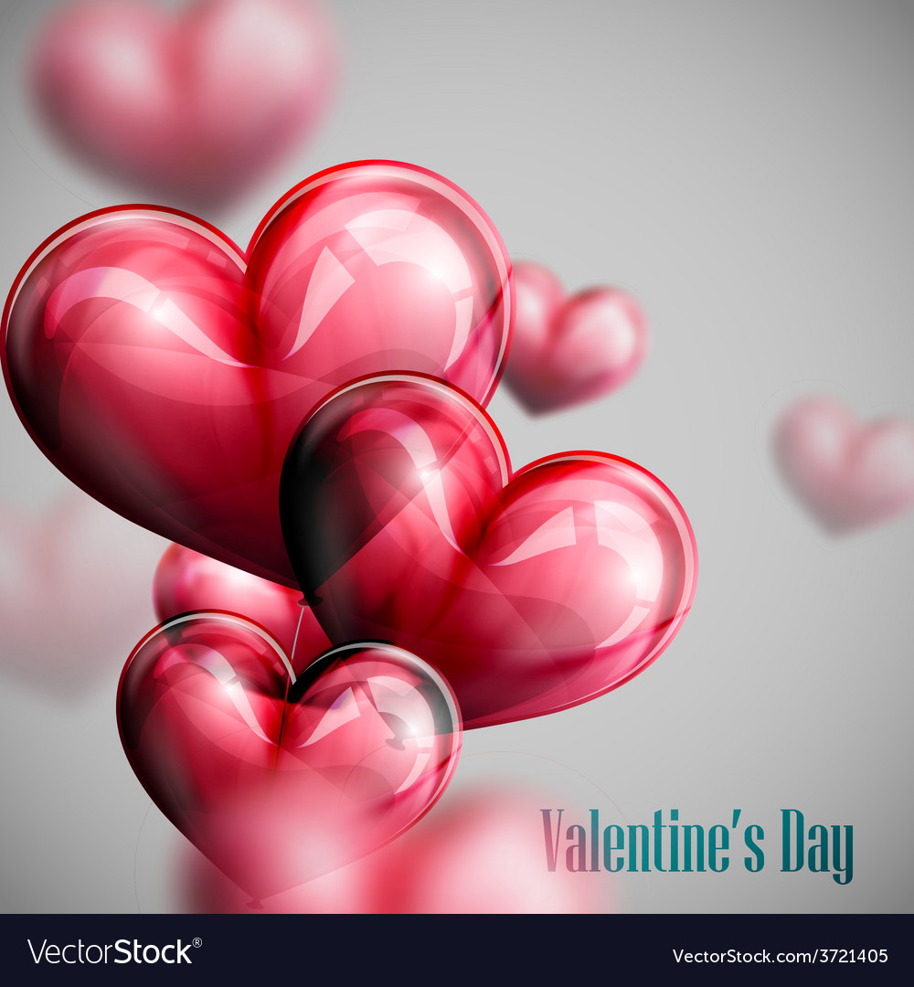 Bunch of red balloon hearts vector   Price: 1 Credit (USD $1)