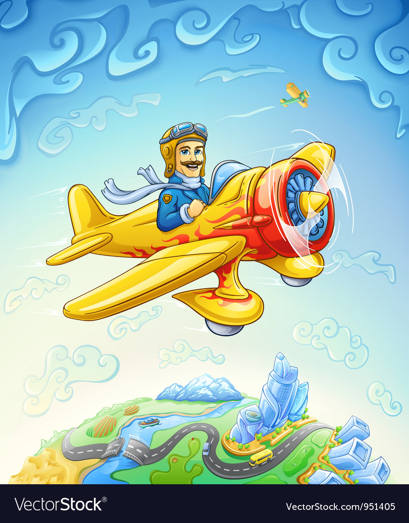 Cartoon plane with pilot flying over the earth vector | Price: 3 Credit (USD $3)