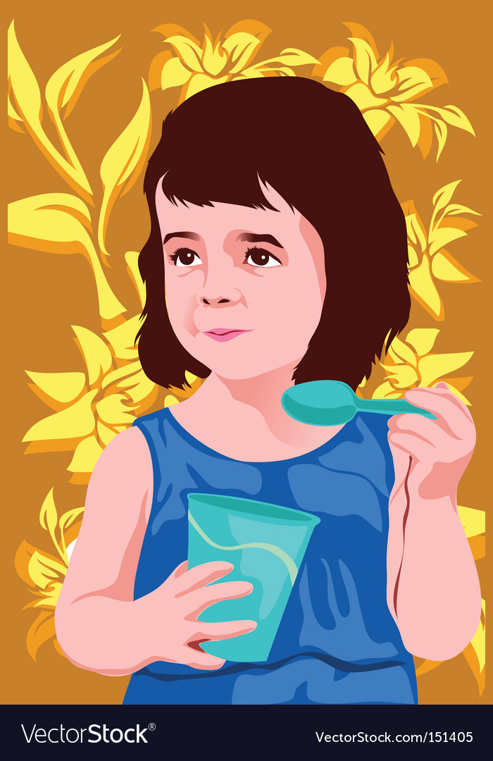 Child eating vector | Price: 1 Credit (USD $1)