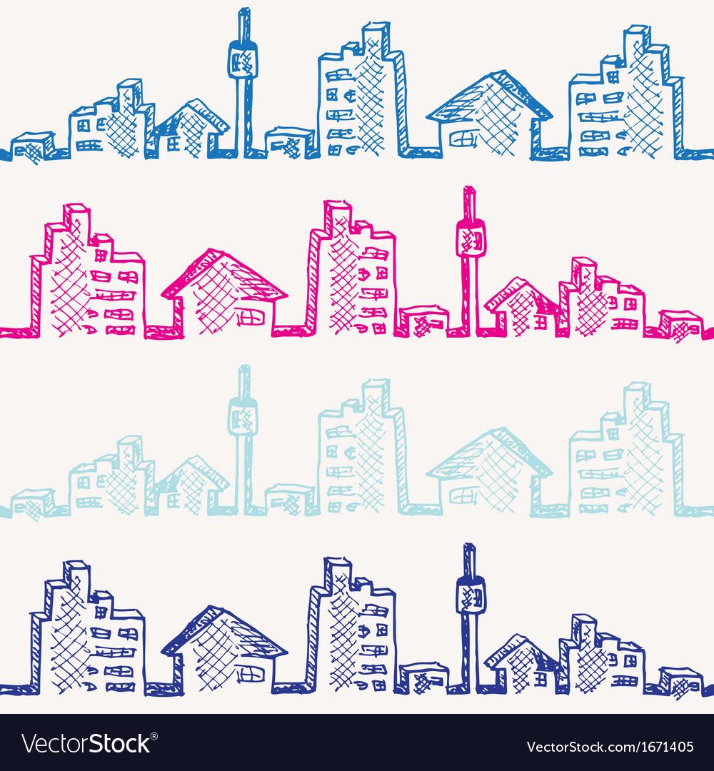 Cityscape sketch seamless vector | Price: 1 Credit (USD $1)