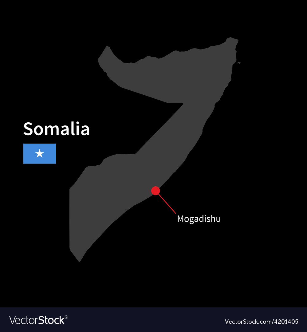 Detailed map of somalia and capital city mogadishu vector | Price: 1 Credit (USD $1)
