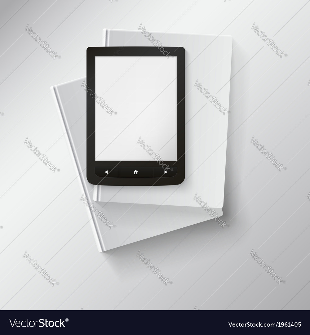 E-book lying on top of books with place for your vector | Price: 1 Credit (USD $1)