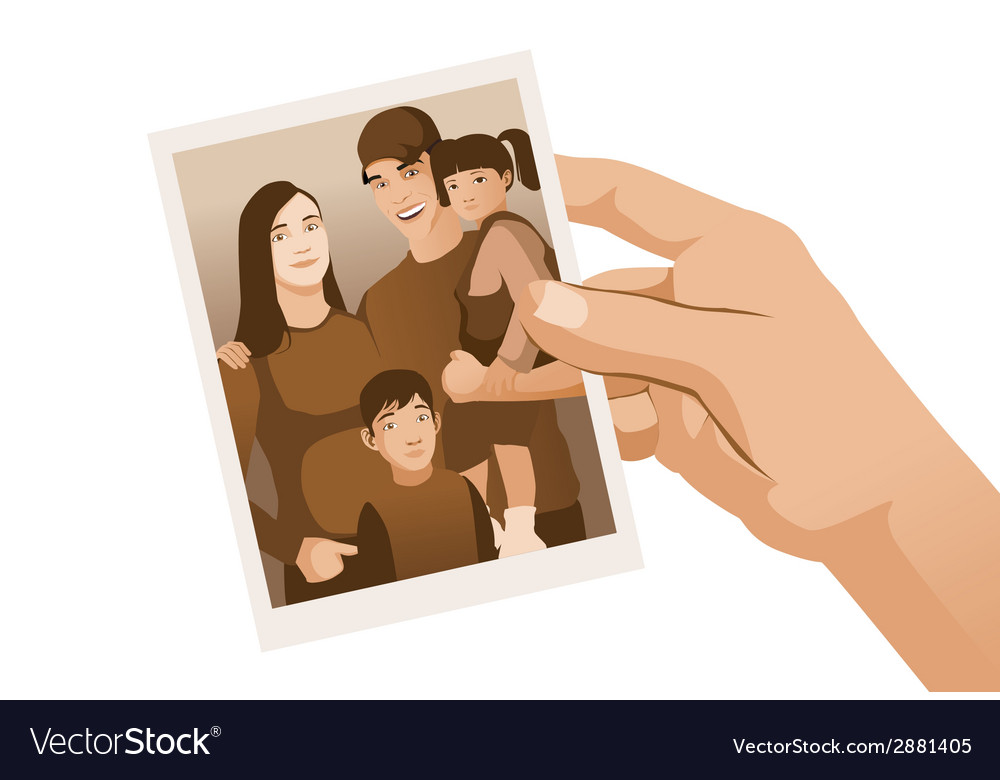 Hand holding family photo sepia isolated vector | Price: 1 Credit (USD $1)