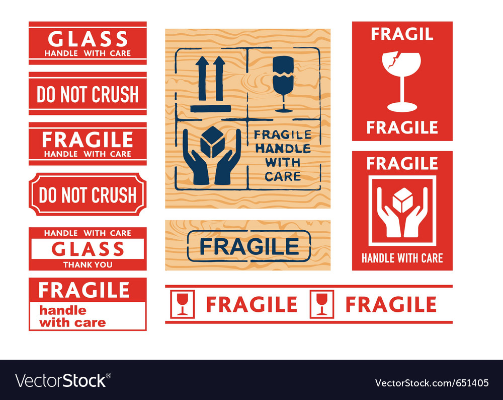 Handle with care stickers vector | Price: 1 Credit (USD $1)