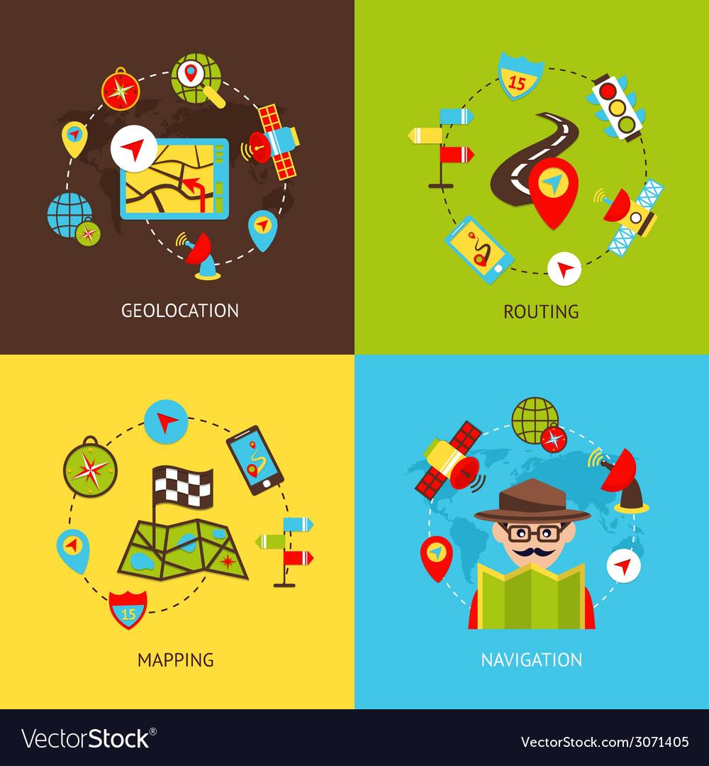 Navigation icons set vector | Price: 1 Credit (USD $1)