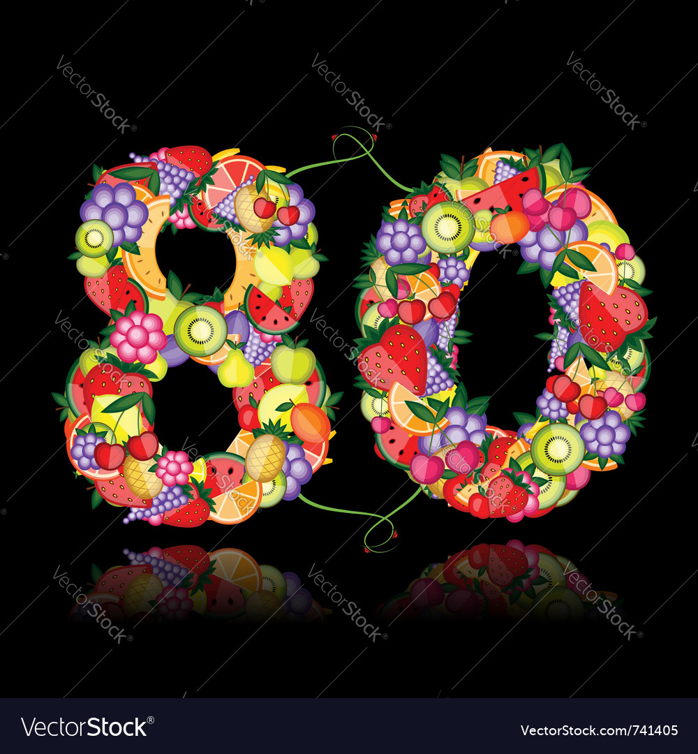 Number eighty made from fruits vector | Price: 1 Credit (USD $1)