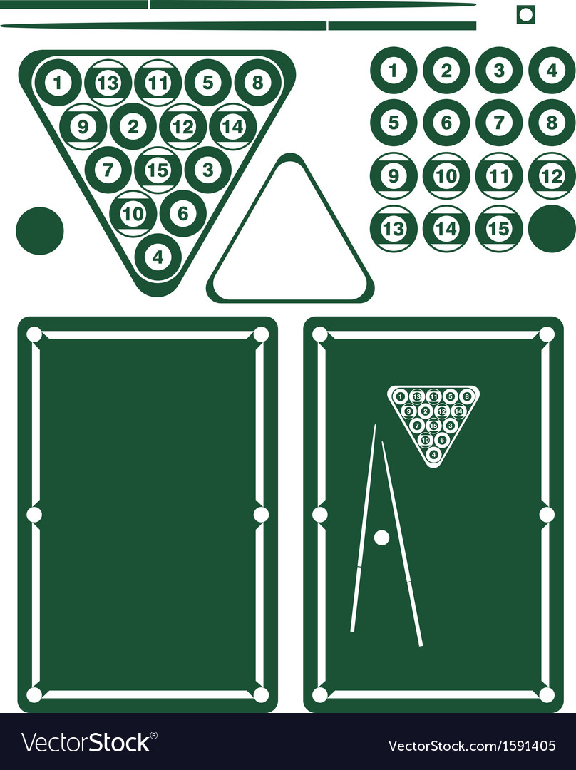 Pool game set vector | Price: 1 Credit (USD $1)