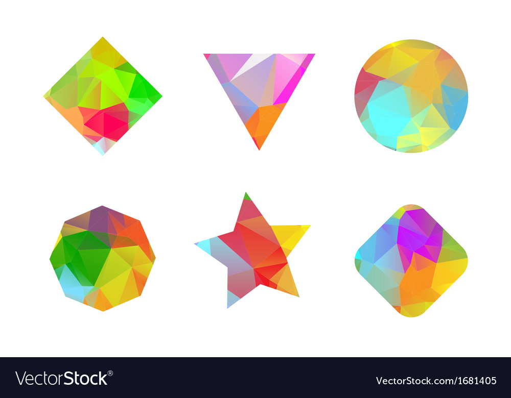 Set of colored geometric polygonal shapes vector | Price: 1 Credit (USD $1)