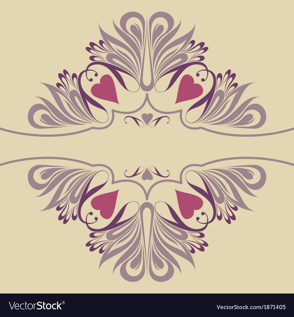 Soft ornate background with hearts vector | Price: 1 Credit (USD $1)