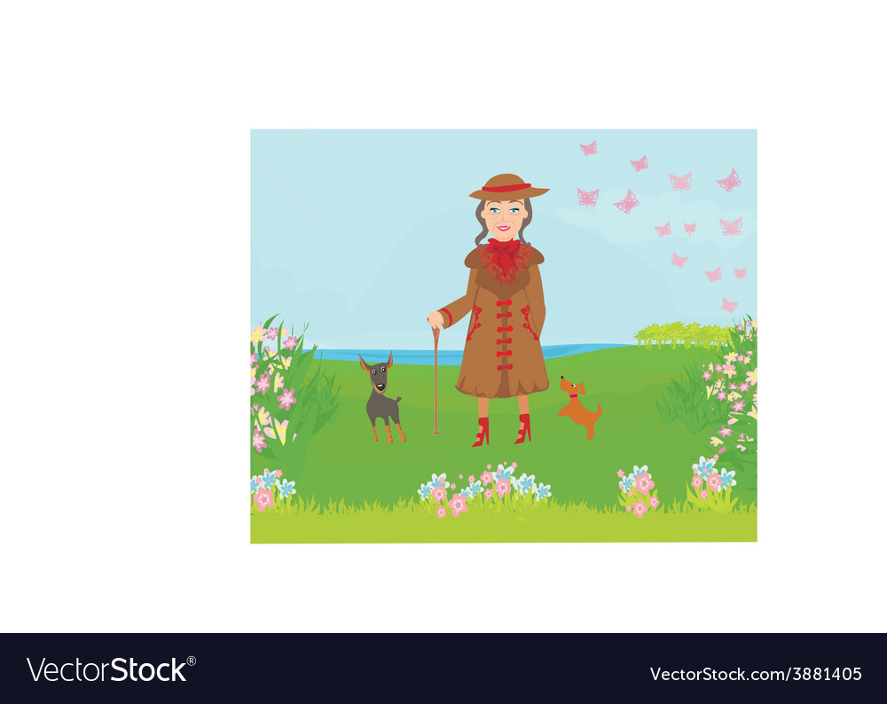 Stylish old woman on a walk with her dogs vector | Price: 1 Credit (USD $1)