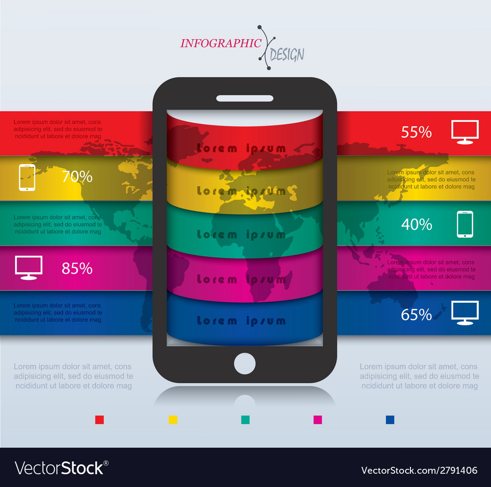 Abstract modern infographic with smartphone vector | Price: 1 Credit (USD $1)