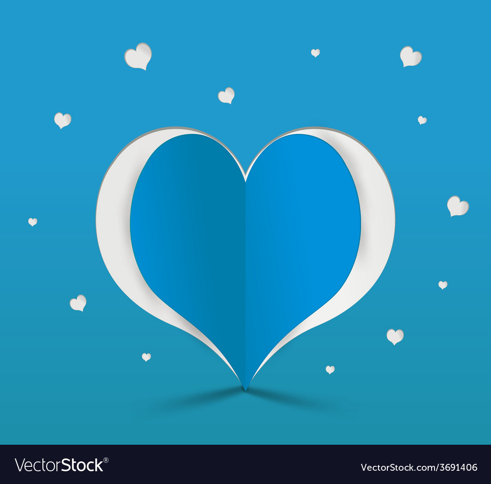 Blue heart paper sticker vector | Price: 1 Credit (USD $1)