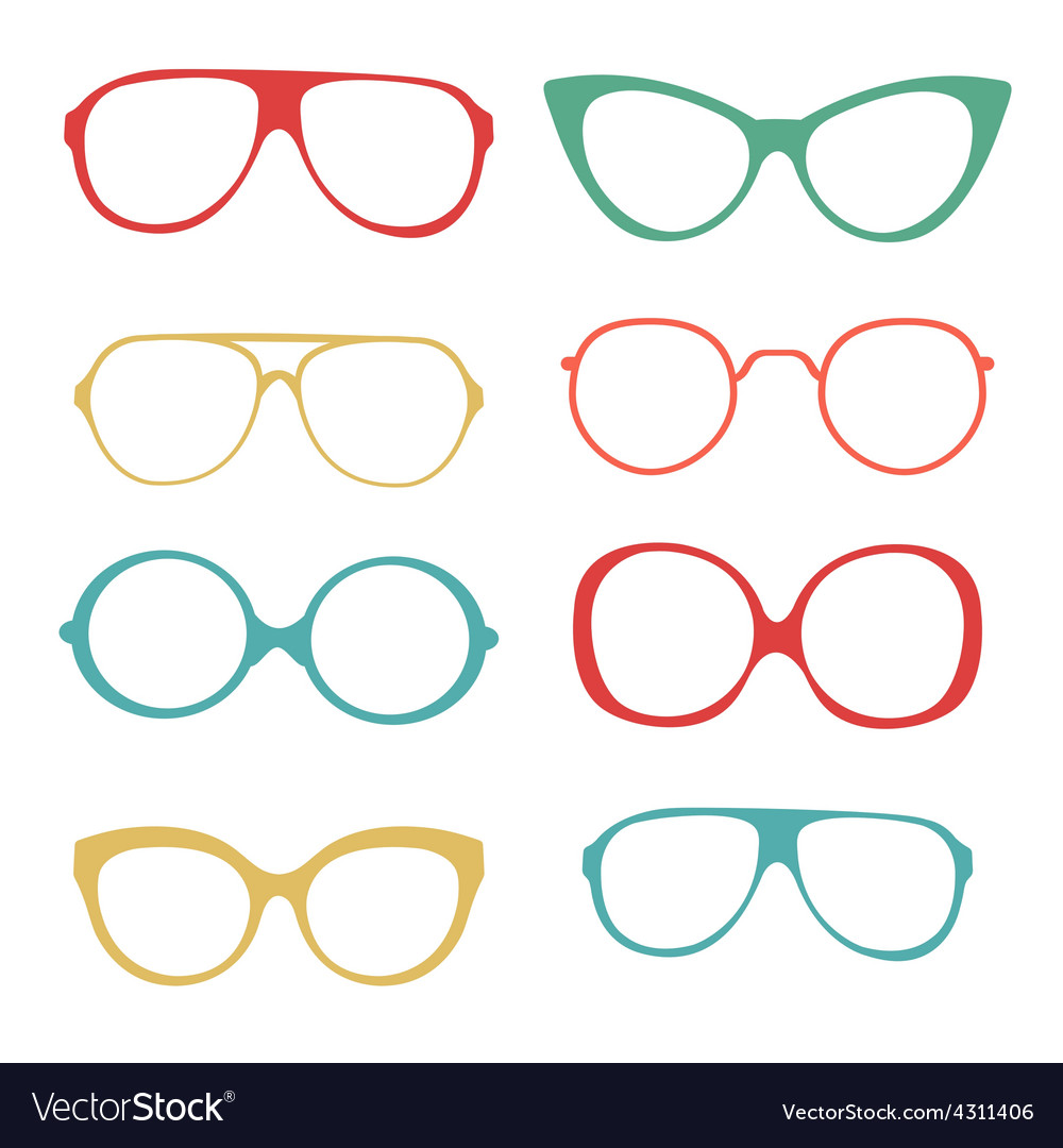 Colorful set of fashionable glasses vector | Price: 1 Credit (USD $1)