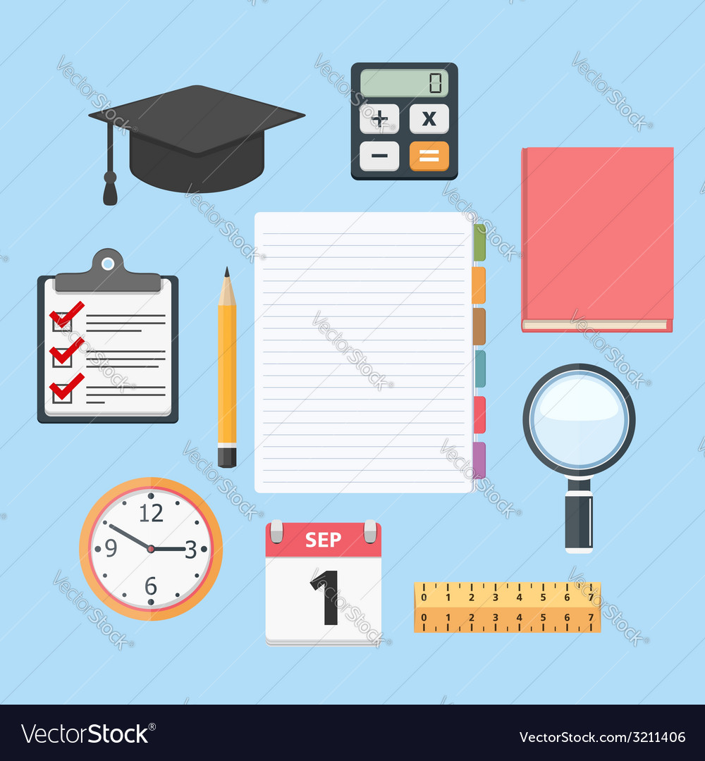 Education objects vector | Price: 1 Credit (USD $1)
