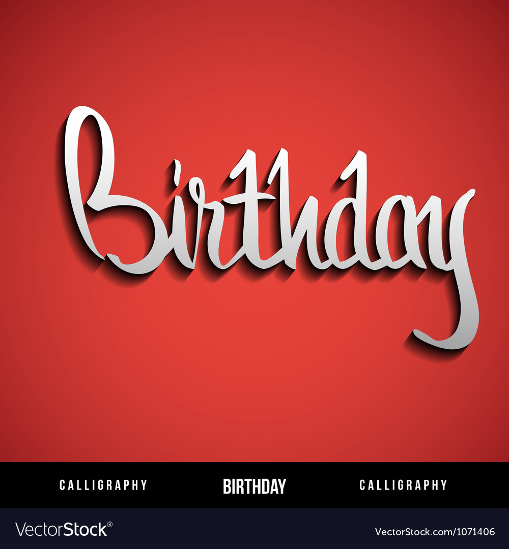Happy birthday hand lettering calligraphy vector | Price: 1 Credit (USD $1)