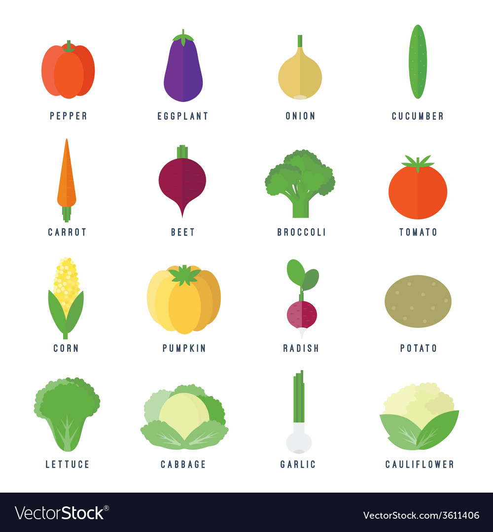 Icons with vegetables in flat vector | Price: 1 Credit (USD $1)