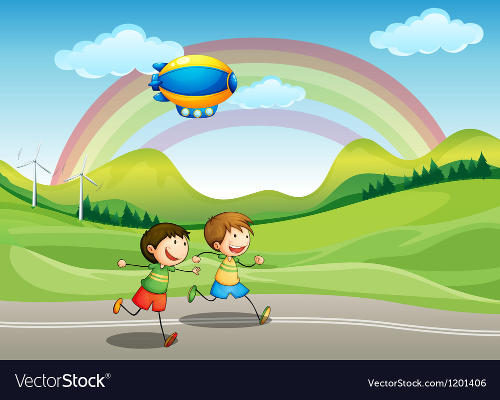 Kids running with an airship above vector   Price: 1 Credit (USD $1)