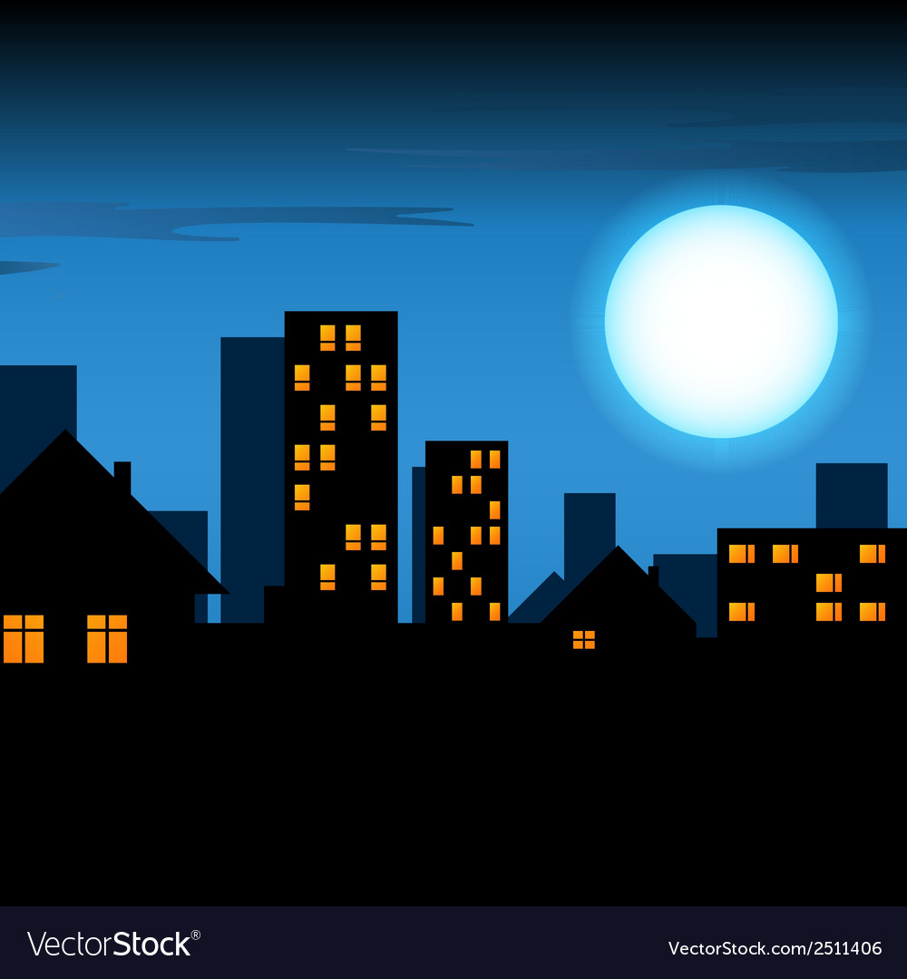 Night lighted city vector | Price: 1 Credit (USD $1)