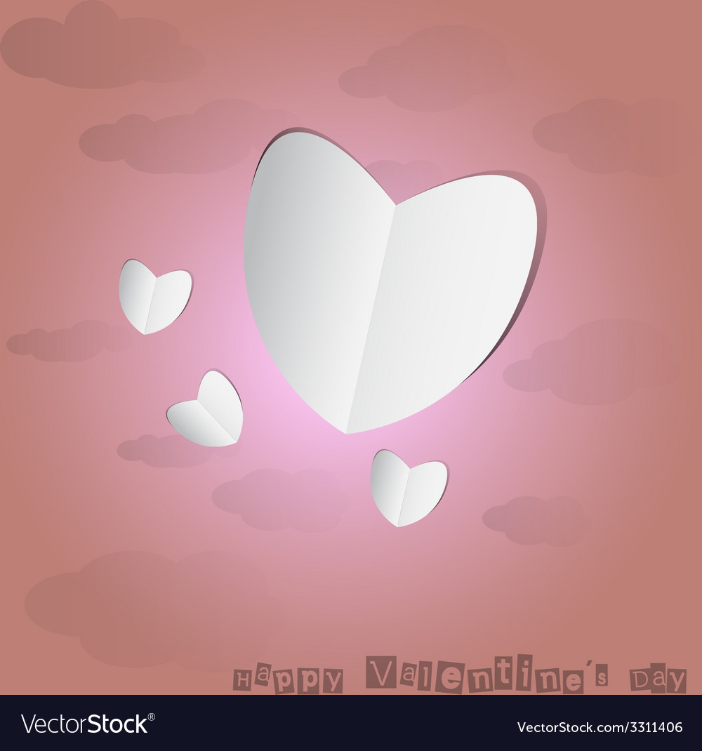 Paper heart with pink background vector | Price: 1 Credit (USD $1)