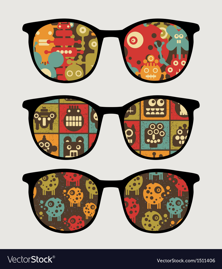 Retro sunglasses with robots reflection in it vector | Price: 1 Credit (USD $1)