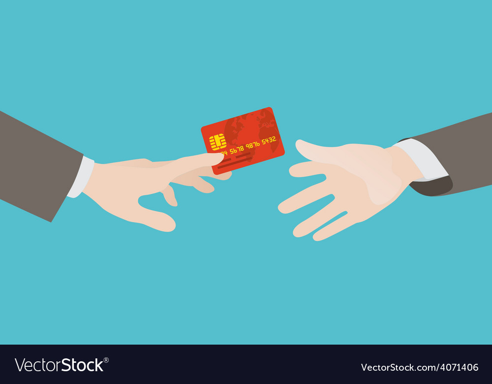 Transfer of the red credit card from hand to hand vector | Price: 1 Credit (USD $1)