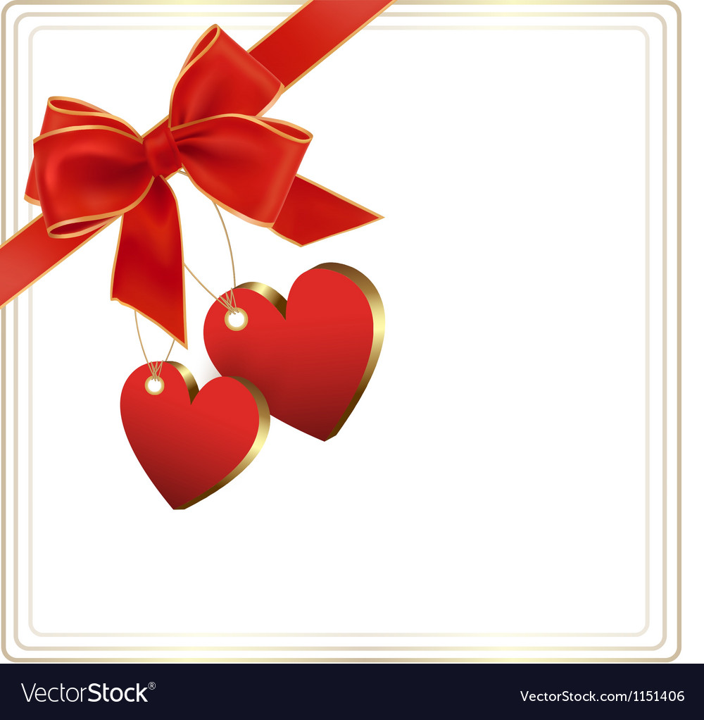 Valentine background with red gift bow and two vector | Price: 1 Credit (USD $1)