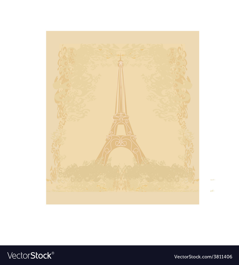Vintage retro eiffel tower card vector | Price: 1 Credit (USD $1)