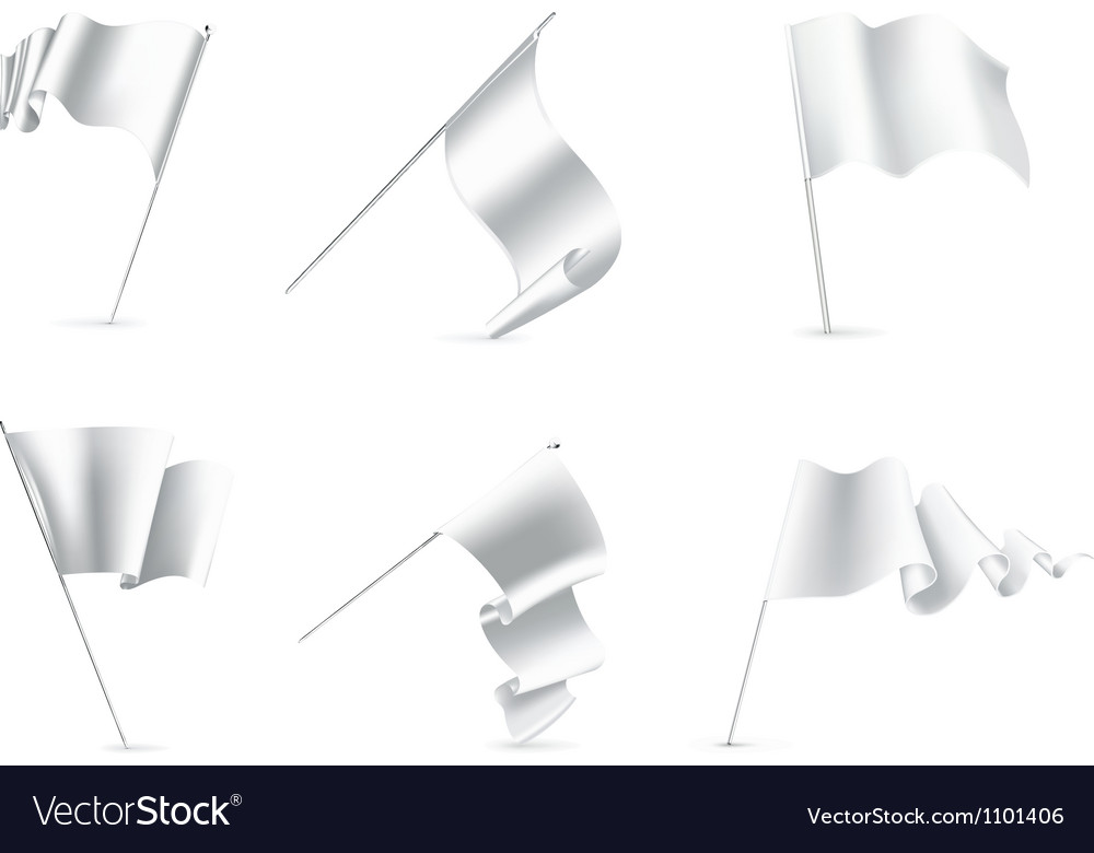 White flags set vector | Price: 1 Credit (USD $1)