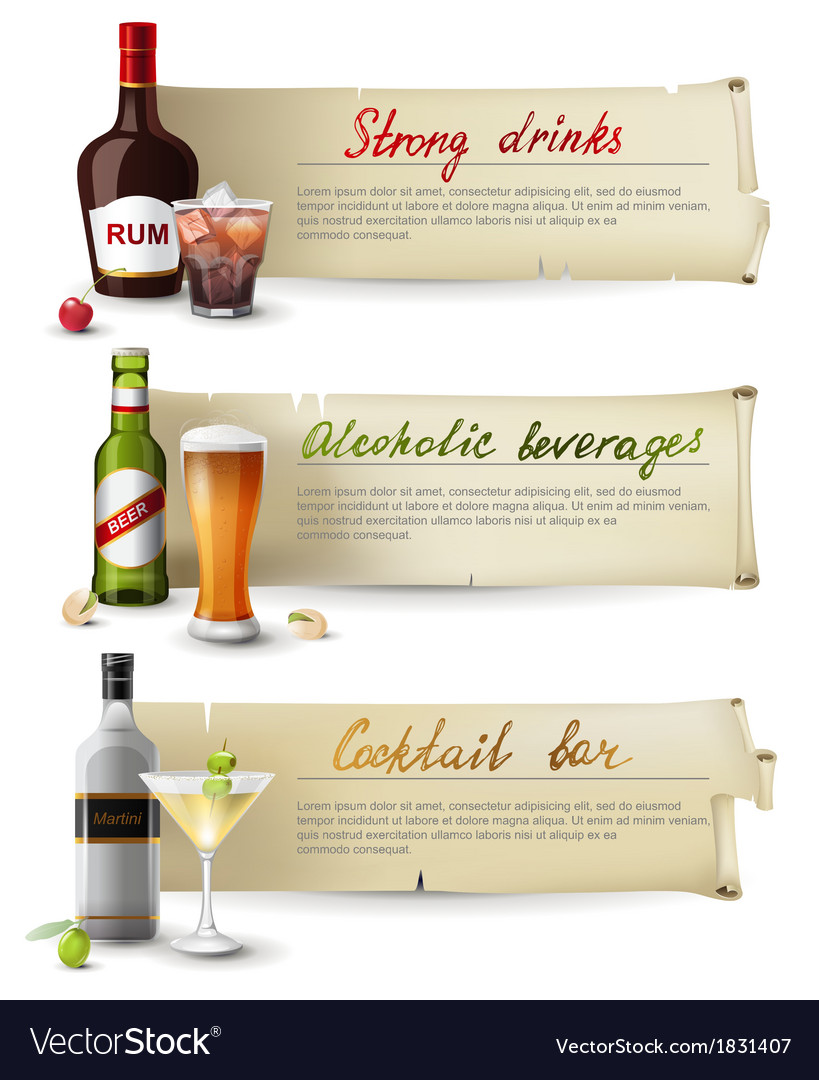 Alcoholic drinks banners vector | Price: 1 Credit (USD $1)