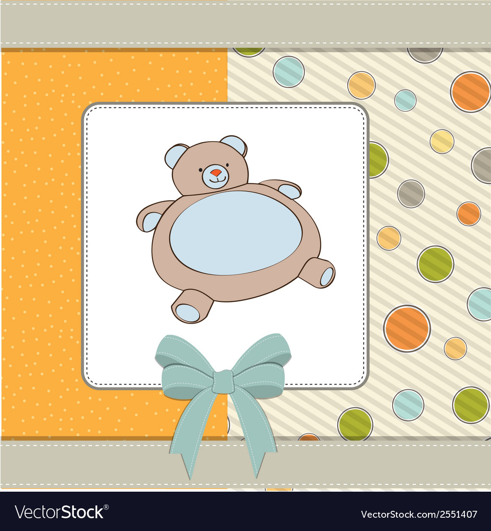 Baby shower card with teddy bear toy vector | Price: 1 Credit (USD $1)