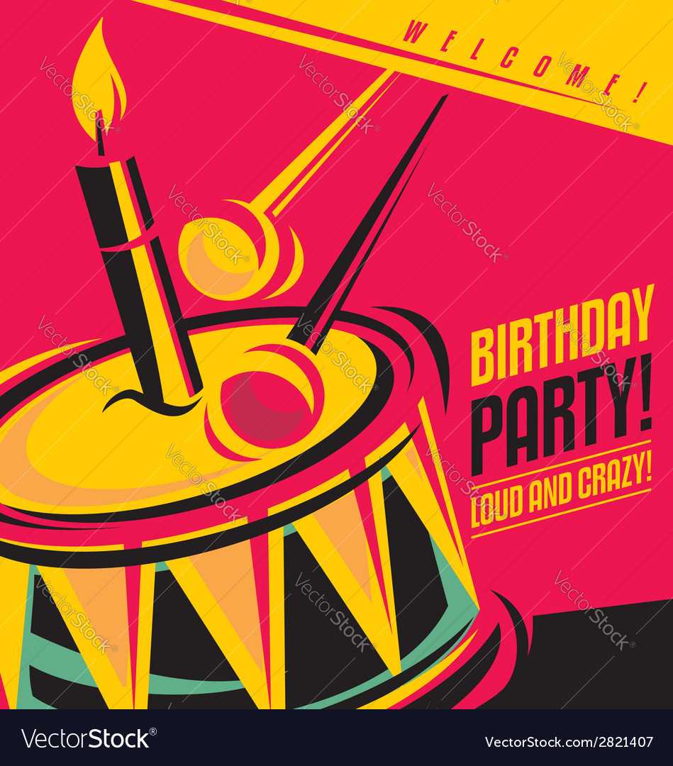 Birthday party invitation template vector | Price: 1 Credit (USD $1)