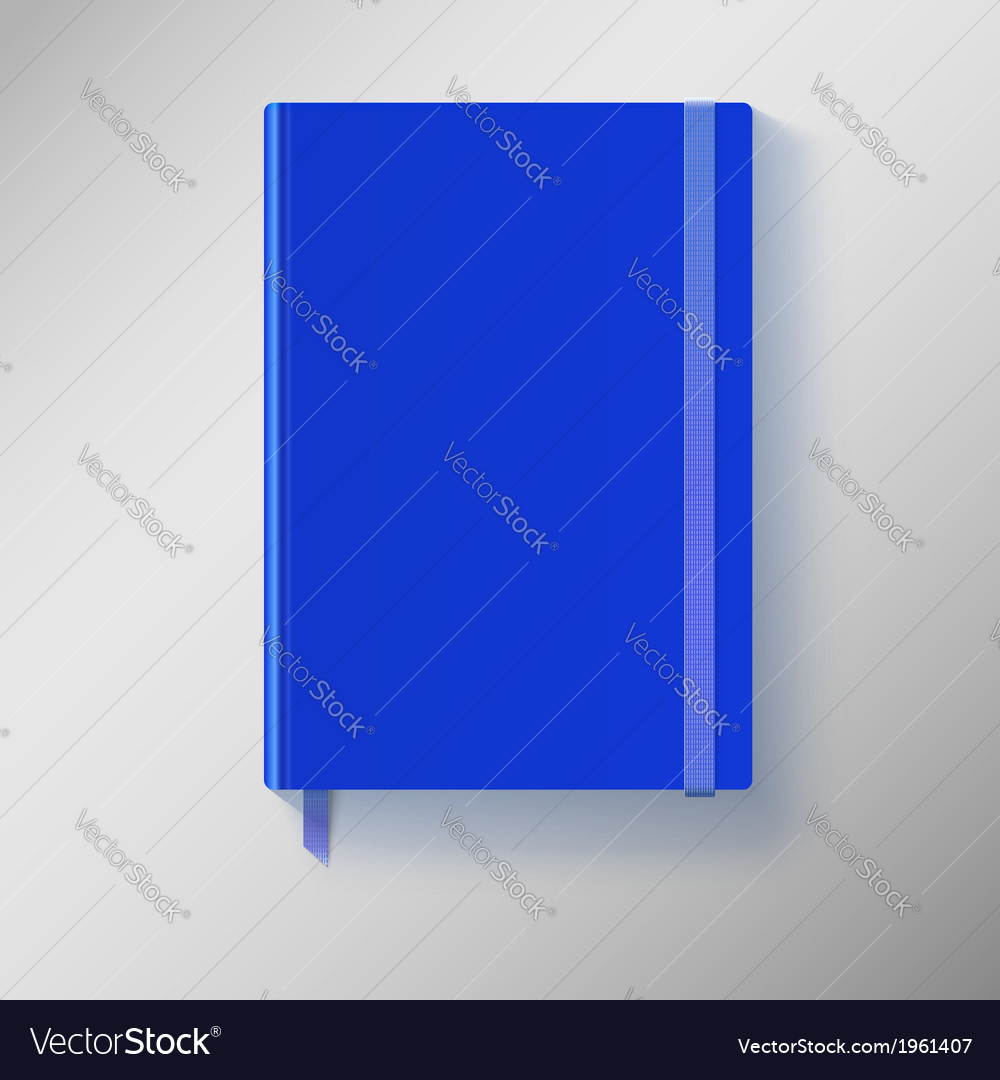 Blue copybook with elastic band and bookmark vector | Price: 1 Credit (USD $1)
