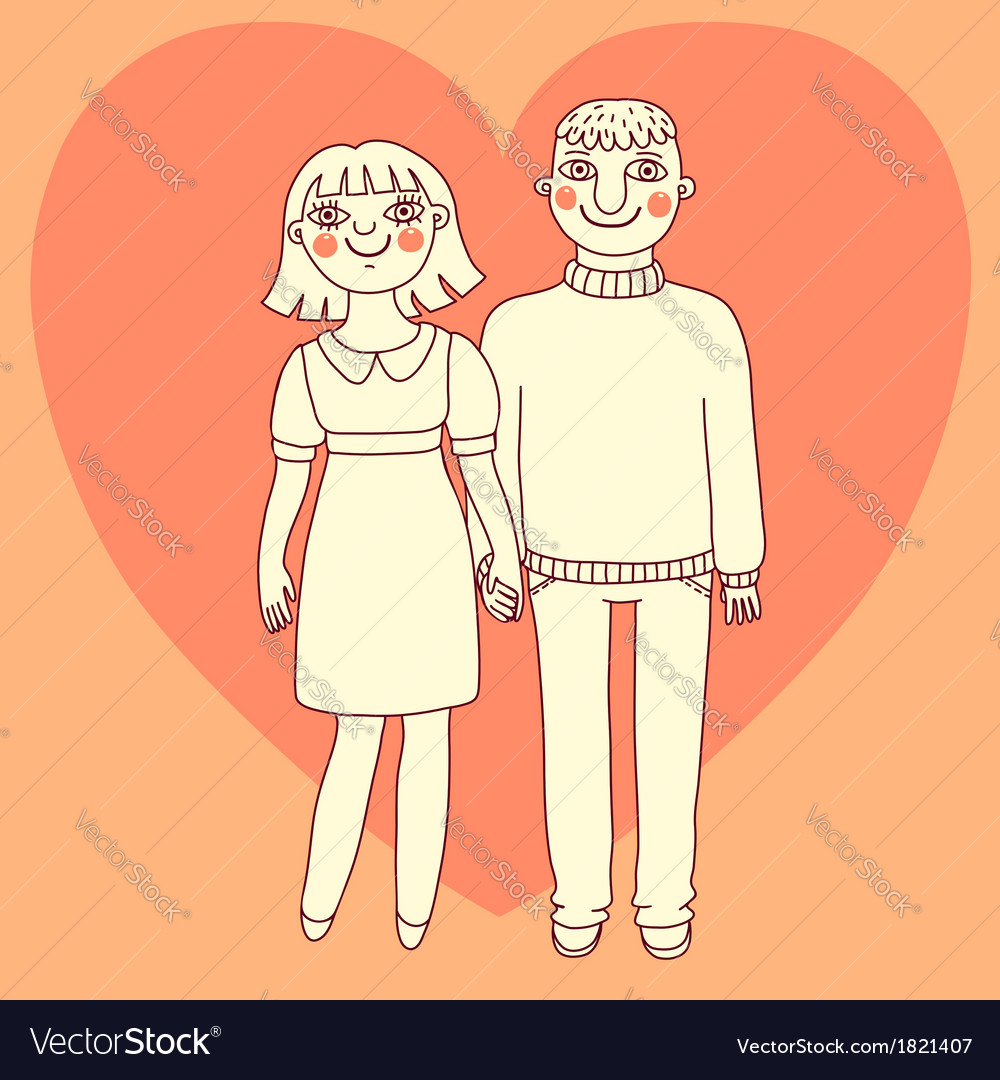 Drawn man and woman young couple in love vector | Price: 1 Credit (USD $1)