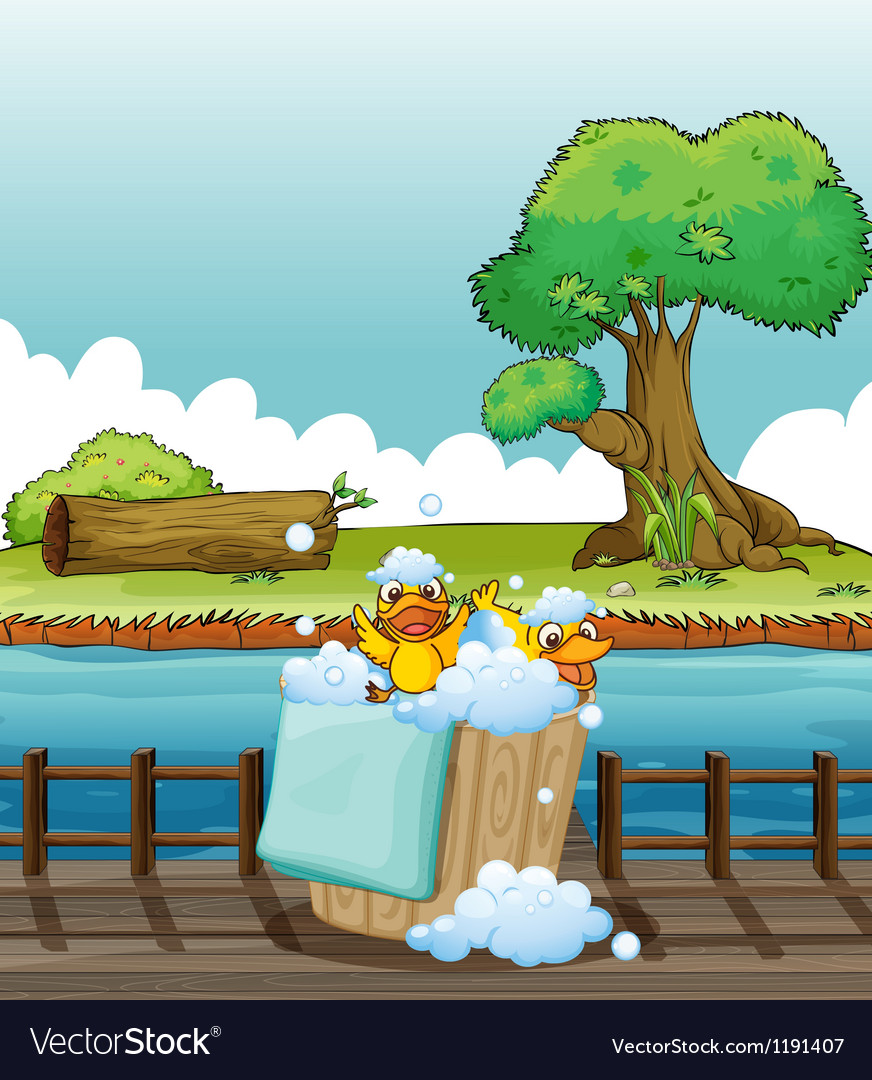 Ducklings playing in a pail full of bubbles vector | Price: 1 Credit (USD $1)